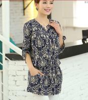 Free Shipping Women New Fashion 2014 Summer Spring,Loose plus siz long-sleeve Printing Midum Long Shirts, XL 2XL 3XL 4XL