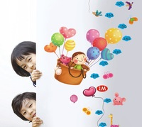 XY8119 Free shipping Balloon cartoon height ruler sticker 55*120cm kids rooms decor bedroom background pvc sticker