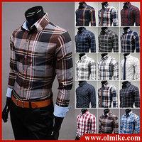 Hot 2014 Mens Slim fit Unique stylish casual long Sleeve Shirts Mens dress shirts 19colors Size: M-XXXL Wholesale Brazil's style