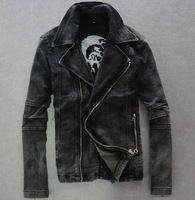 Mens black motorcycle biker Denim Jeans Jacket Coat zipper