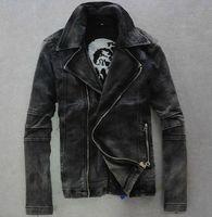 Mens black motorcycle biker Denim Jeans Jacket Coat zipper