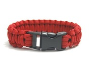 2014 the latest outdoor camping survival bracelet steel bright red umbrella rope woven bracelet handmade