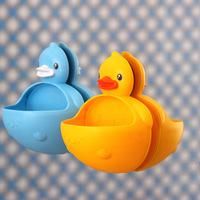 Kawaii Solid Color Duck Plastic Soap Box Bathroom Sucker Multifunctional Storage Box Soap Dish