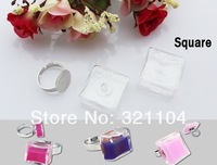 Free ship! 50sets/lot 18MM Square Glass Bubble & Ring set DIY Jewelry Findings NEW (not include the fillers)