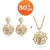 wholesale rose Gold Plated Crystal Fashion Jewelry Set necklace earrings wedding R2410