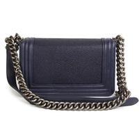 Genuine Leather Thick Metal Chain Flap Solid Color Shoulder Messenger Bag Vintage Classical Pearl Fish Sticks Leather LE BOY