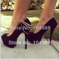 FREE SHIPPING 2014 Style BY-159 WOMEN FASHION GOLD PLATED ANKLE CHAIN GOLD RHINESTONE ANKLETS JEWELRY