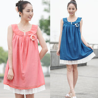 2014 New Maternity Clothing Summer Maternity Dress One-piece Peter Pan Collar Chiffon Maternity Skirt Dress For Pregnant  Women