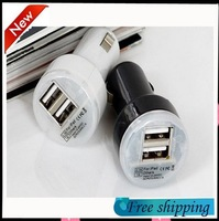 Free shipping New Mini Double USB Car Charger for iPhone 4 4S 5 5S iPad 2 3 4 5 Samsung Galaxy S2 S3 S4 Note 2 3 MP3 M4 Camera