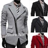 Free shipping 2014 new irregular oblique zipper pocket Lapel men's wool coat Slim Fit Blazers Coat Suit Jacket/man overcoat