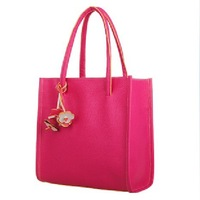 Free shipping Spring New Style small flower brief Women totes pu leather handbag 10 candy solid color