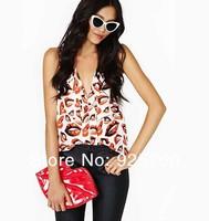 blouse women fashion 2014 spring summer european style Harajuku lips print sleeveless sexy punk shirt plus size