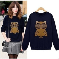 2014 Seconds Kill Limited Regular Streetwear Pullovers Full 2014new Women's Clothing Owl Loose Pullover Plus Velvet Sweatshirt