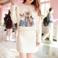 2014 Women New Fashion Cartoon Cat Print Dresses casual  Dress Women Mini Vintage Girls Free Shipping