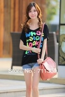 Cotton Modal Batwing Sleeves Faction Loss T-Shirt  Lady Tops New Woman Tees Free Shipping