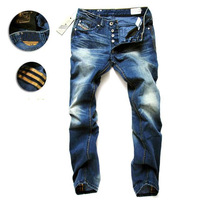 Free Shipping! 2014 Hot Sales Classic Men's Jeans, High Quality Denim Jeans! 28-42 Size!  Men's Fashion Straight Jeans!