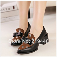 2014 New Skull Shoes Korean Bow Rough With Shallow Mouth Pointed Shoes Nightclub Sexy Shoes 317-2