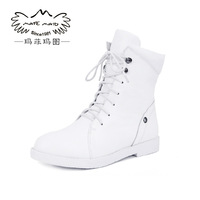 Free shipping First layer of cowhide boots casual martin boots female fashion flat heel flat boots
