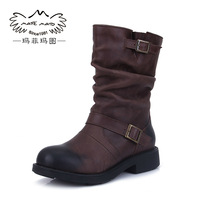 Free shipping Autumn and winter boots quality cowhide martin boots motorcycle boots boots medium-leg vintage