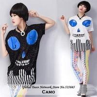 New 2014 Spring Summer New Womens T-Shirt Camo Striped Short Sleeve Casual Loose Cotton Black White Blue Tops & Tees Clothes