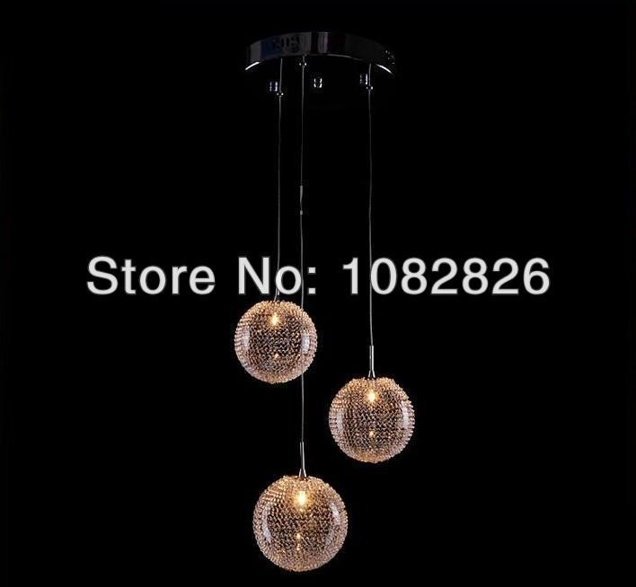 Hot Loft Duplex Height 100cm New Modern 3 lights Aluminum Wire Ball Light Pendant Lamp Lighting(China (Mainland))