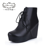 Free shipping 2014 fashion genuine leather boots single boots high-heeled platform elevator boots platform ankle boots