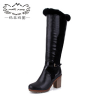 Free shipping Winter women's shoes thermal high-leg boots rabbit fur boots tall boots genuine leather high heel long boots