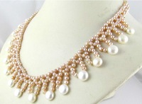 18inch south sea white +pink Hand-woven pearl necklace +white EARRING