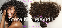 Brazilian Deep Wave Virgin Hair 3Pcs Lot Mixed Length 12'' - 28'' Kinky Curly Virgin Brazilian Hair Extensions
