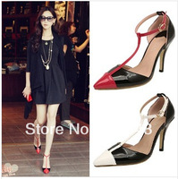 2014 New Korean Sandals Mixed Colors Pointed T-straps Shallow Mouth Women's High Heels Red,White