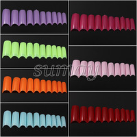 hot sale 2014 new arrvial 500Pcs Pure Color Fashion Hot French nail Style Acrylic Artificial False Nail Tip Art UV Gel DIY