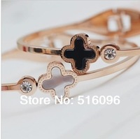 fashion jewelry newest clover rose gold bangle bracelet for women made with shell