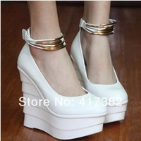 Women's women wedding shoes single brief pleated platform wedges velcro strap high-heeled shoes wedding shoes white
