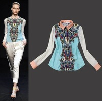 2013 Summer New Printing Long-sleeved Chiffon Women Shirt Blouses