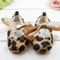 Free Shipping Fashion 2014 Baby's Shoes Girl Leopard First Walkers With Bow