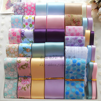 36 Meters/set, Flower Series Organza/Satin Ribbons,Printed Grosgrain Ribbon Children Hair Accessory,Sewing Tape, Cotton Lace