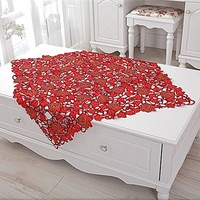Table cloth embroidery table cove tablecloth 85*85cm (36*36 inch) RED design  for home hotel  weeding  dining room