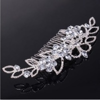 Elegant Leaf Beautiful Rhinestone Crystal Hair Comb Wedding Bridal Clip for women hairwear