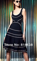 black and white round neck sleeveless scalloped-edge trim A line hl bandage dresses 2014 new arrival women party dress