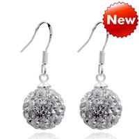 Free Shipping Wholesale lots 18K Gold Plated Rhinestone Shambhala Ball Earrings Bridal Jewelry