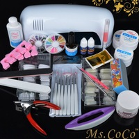 Free Shipping 2014 Pro UV Gel Nail Art Tool Kits Sets UV lamp Brush Remover nail tips glue acrylic manicure