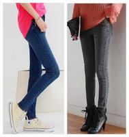 New fashion Spring Autumn dark blue grey Plus size Casual skinny jeans women denim long pencil pants 2014