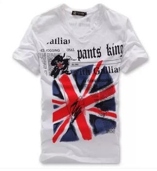 2014 men's t shirts short sleeve slim fit uk flag cotton v-neck t shirt for men  grey white M to XXL men's clothing freeshipping