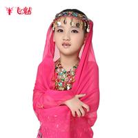 Free shipping child belly dance veil with coins kid dance diamond mantilla diamond scarf child dance accessories