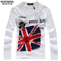 2014 new men's t shirt long Sleeve slim fit  UK flag print V-neck t shirt for men Gray White Plus size Free shipping NO7Z.RF40