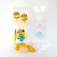 Free shipping 2pcs/lot Stylish Despicable ME The Minion Pattern General 3.5mm In-ear Earphone #2  for Various Mobile Phones