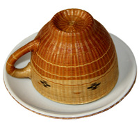 Beautiful tea set bamboo teacup set coasters set crafts ceramic cup bamboo set