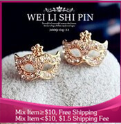 B278 Fashion PROM Imitation diamond  mask flowers jewelry earring for women free shipping