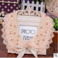 Fashion 2014 Handmade pearl false collar Crochet beading rhinestone lace pearl necklace champagne color free shipping JL #155