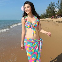 2014 sexy piece set steel push up elegant skirt hot spring swimwear female